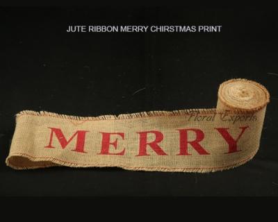 Jute Ribbon Merry Christmas Printing