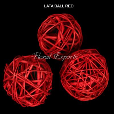 Lata Ball 8cm Red Loose - bulk decorative floral balls wholesale
