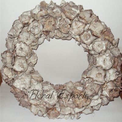 Palm Cap Wreath White Wash
