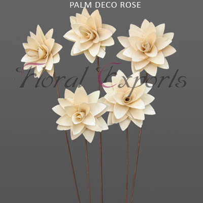 Palm Decorose 4cm on Wire Stem - Palm Deco Rose Wholesale Supplies