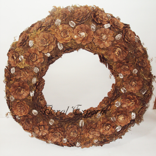 Pine Cone Half cut Wreath - Dried Wreath Manufacturer