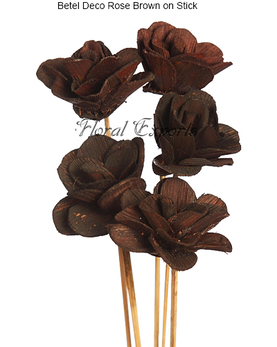 Betel Deco Rose Brown on Stick - Dried Handmade Flowers
