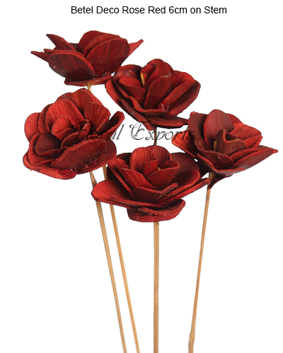 Betel Deco Rose Red 6cm on Stem