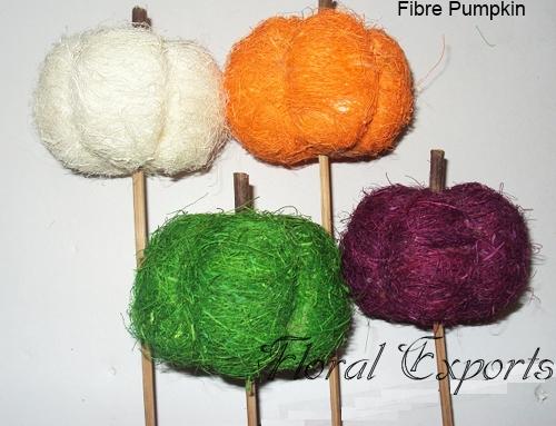 Fibre Pumpkin on Stick Assorted Color