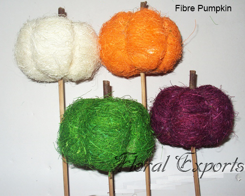 Fibre Pumpkin on Stick Assorted Color - Handmade Trend